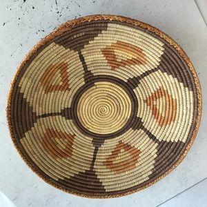 African Woven Basket Brown Orange Cream